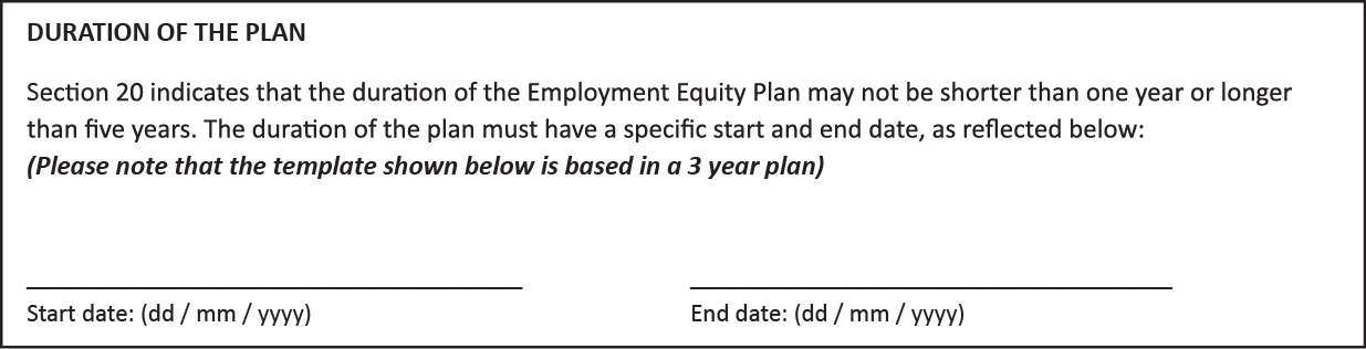 Employment Equity Plan EEA13 Duration Plan